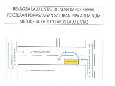 Sudinhub Jakut Lakukan Rekayasa Lalin di Jalan Tegal Alur Hingga Jalan Kamal Muara