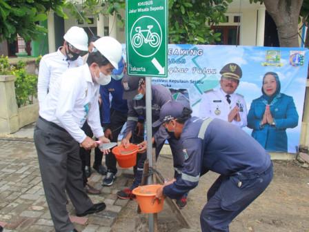 Bupati Groundbreaking Pembangunan Jalur Sepeda Lingkar di Pulau Pramuka