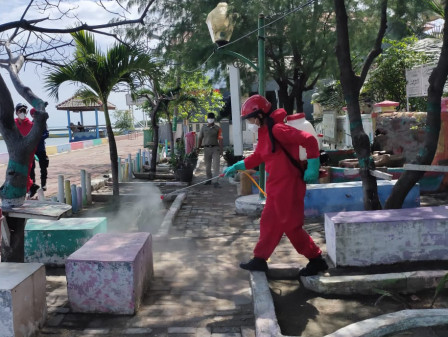 Today, Public Facilities in Harapan Island Sprayed with Disinfectant