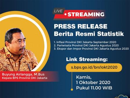 September 2020, Inflasi di DKI Jakarta 0,02 Persen