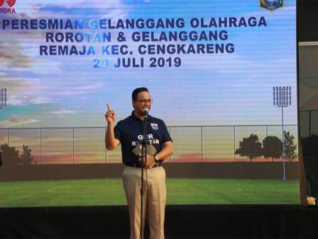 Anies Resmikan GOR Rorotan dan Gelanggang Remaja Kecamatan Cengkareng