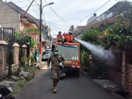Streets in Petamburan Grogol Sprayed Disinfectant Liquid
