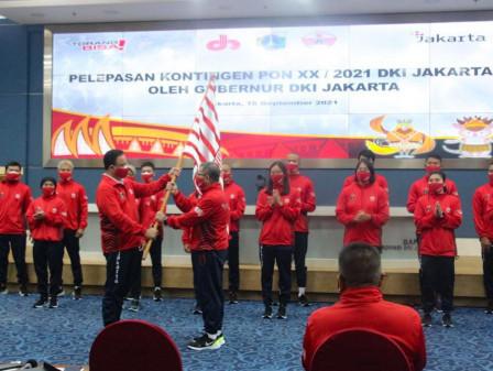 Pelepasan Kontingen DKI Jakarta, Gubernur Anies Targetkan Juara Umum PON XX Papua