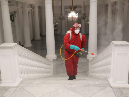 Spraying Disinfectant at Jakarta City Hall will Run for Three Consecutive Days
