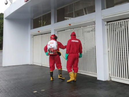 Bung Karno Stadium Sprayed with Disinfectant