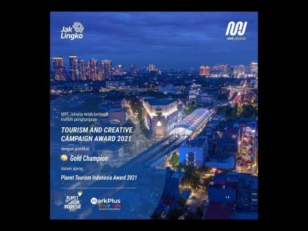 MRT Jakarta Raih Penghargaan Gold Champion Tourism