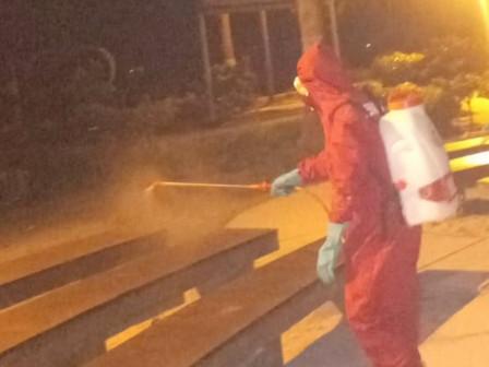 Jembatan Cinta of Tidung Island Sprayed with Disinfectant