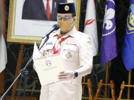 Jabat Ketua Majelis Pembimbing Daerah, Gubernur Anies Berkomitmen Majukan Gerakan Pramuka di Jakarta