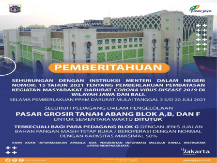 Perumda Pasar Jaya Batasi Operasional Pasar di Masa PPKM Darurat