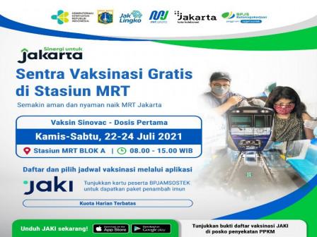 MRT Jakarta Buka Sentra Vaksinasi Tahap 3 di Stasiun MRT Blok A