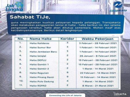10 Transjakarta Bus Stops Closed for Service Improvement