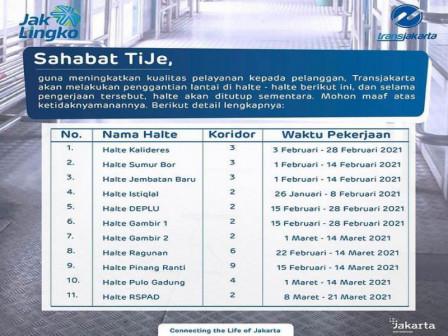 Ada Perbaikan, 11 Halte Transjakarta Ditutup Sementara.